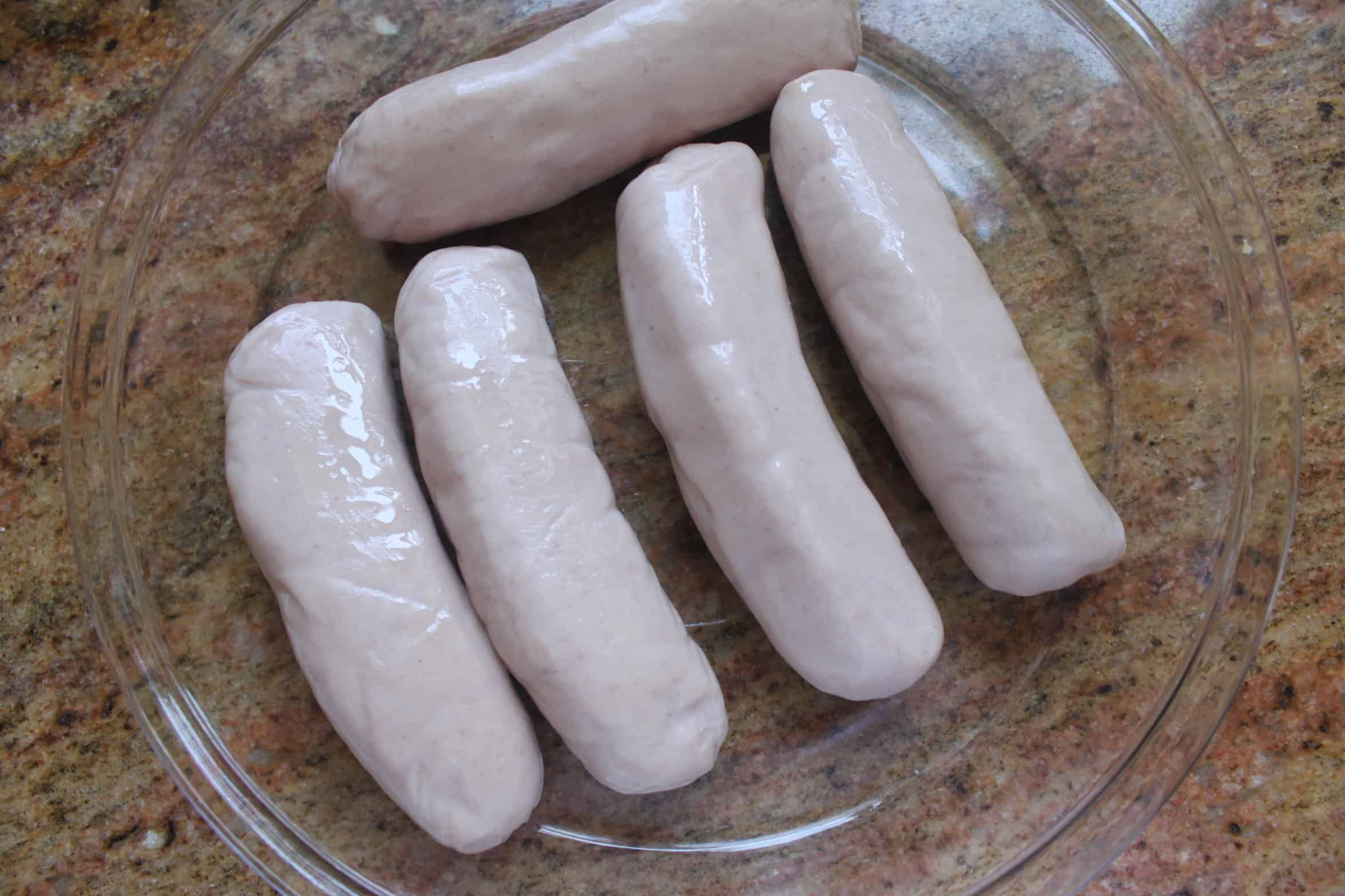 raw bangers in a dish