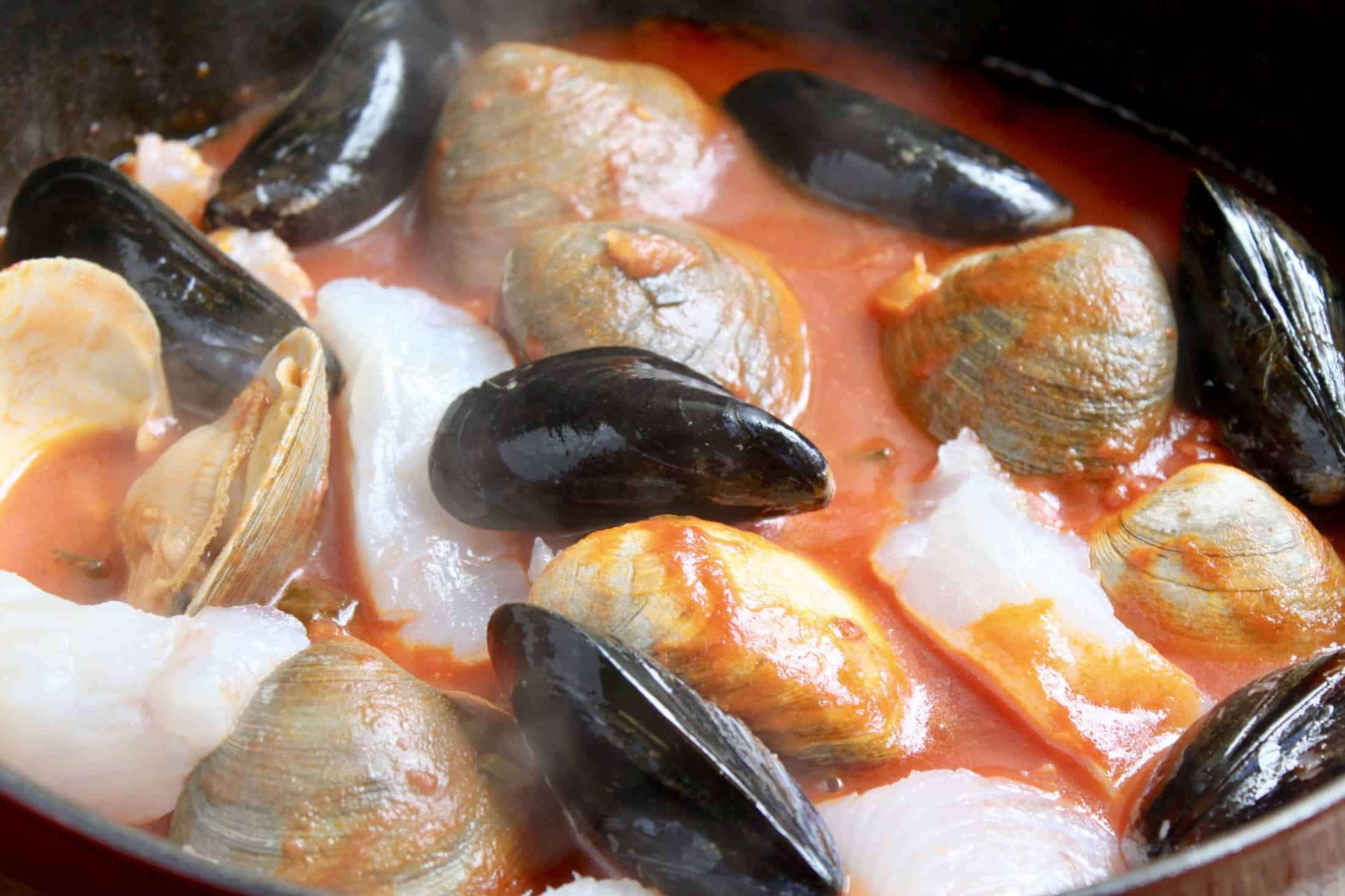 adding mussels and haddock