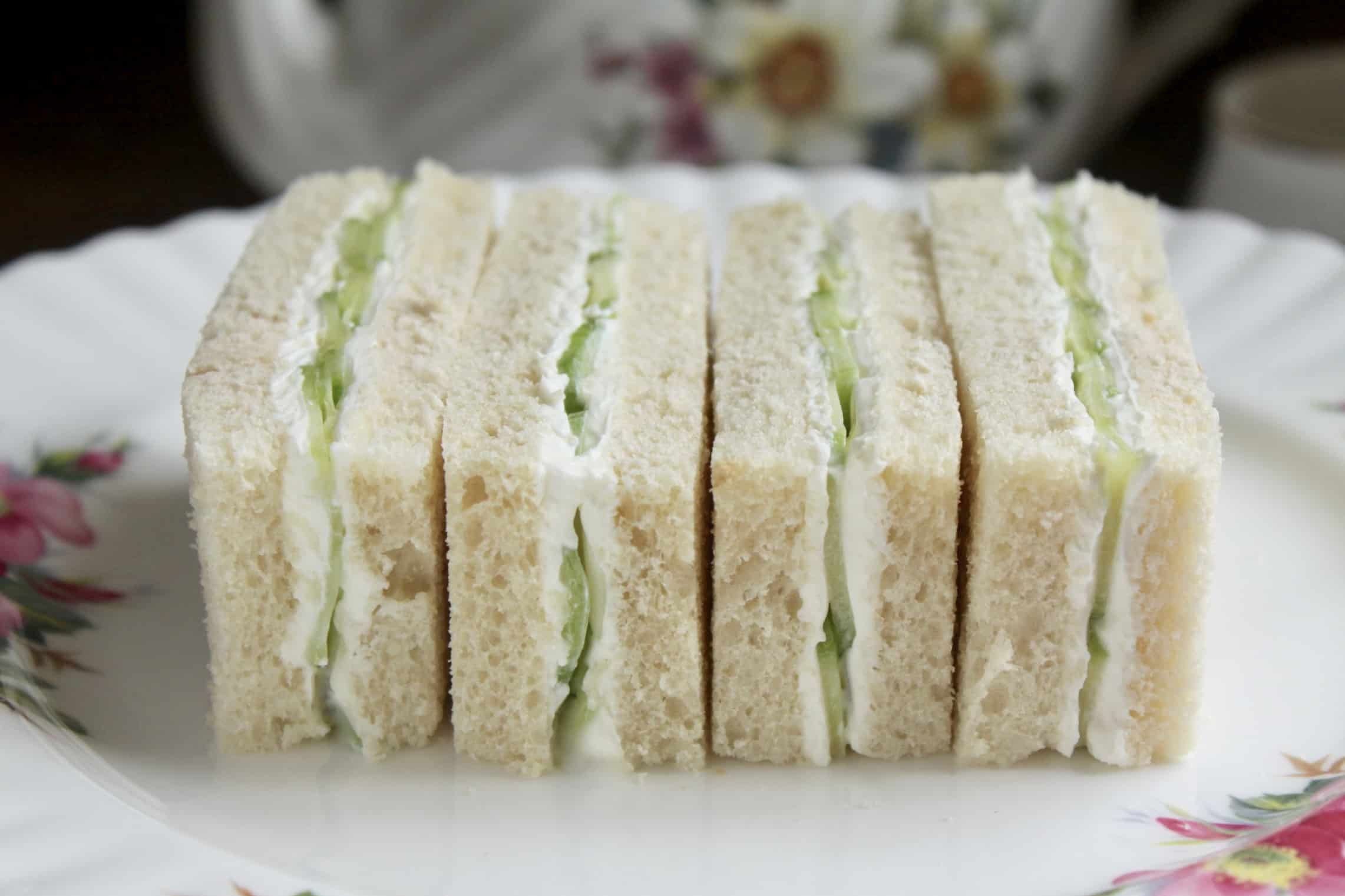 4 cucumber finger sandwiches