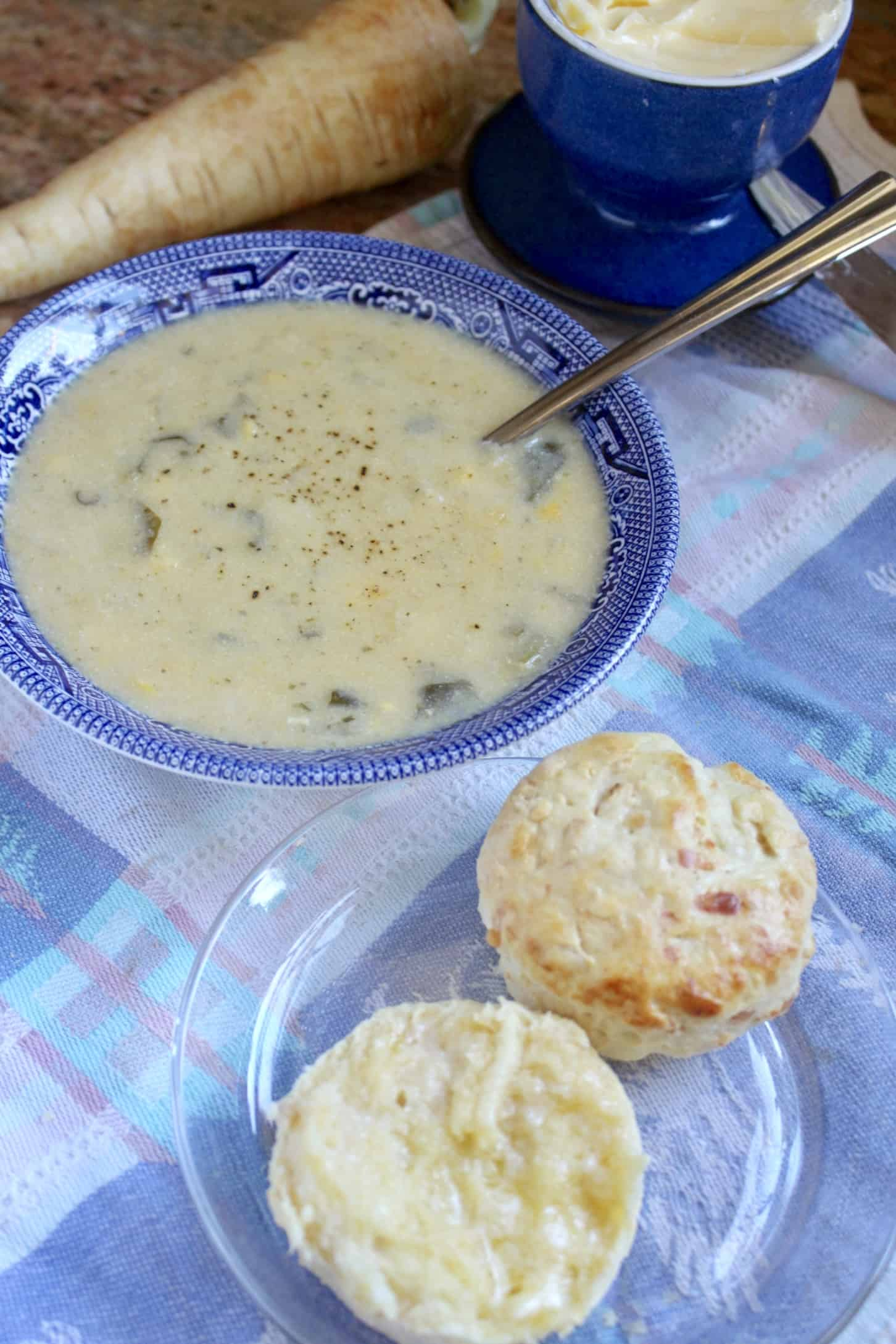 savory parsnip scone with soup