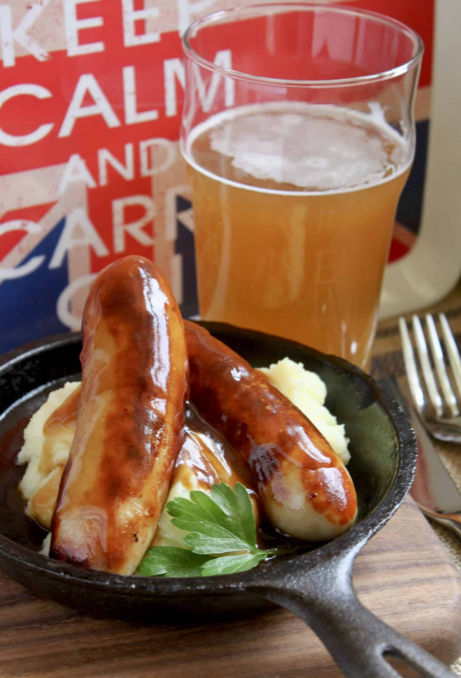 bangers and mash and beer