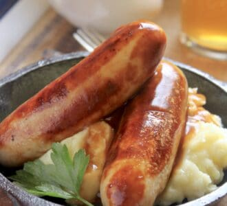 bangers and mash with beer