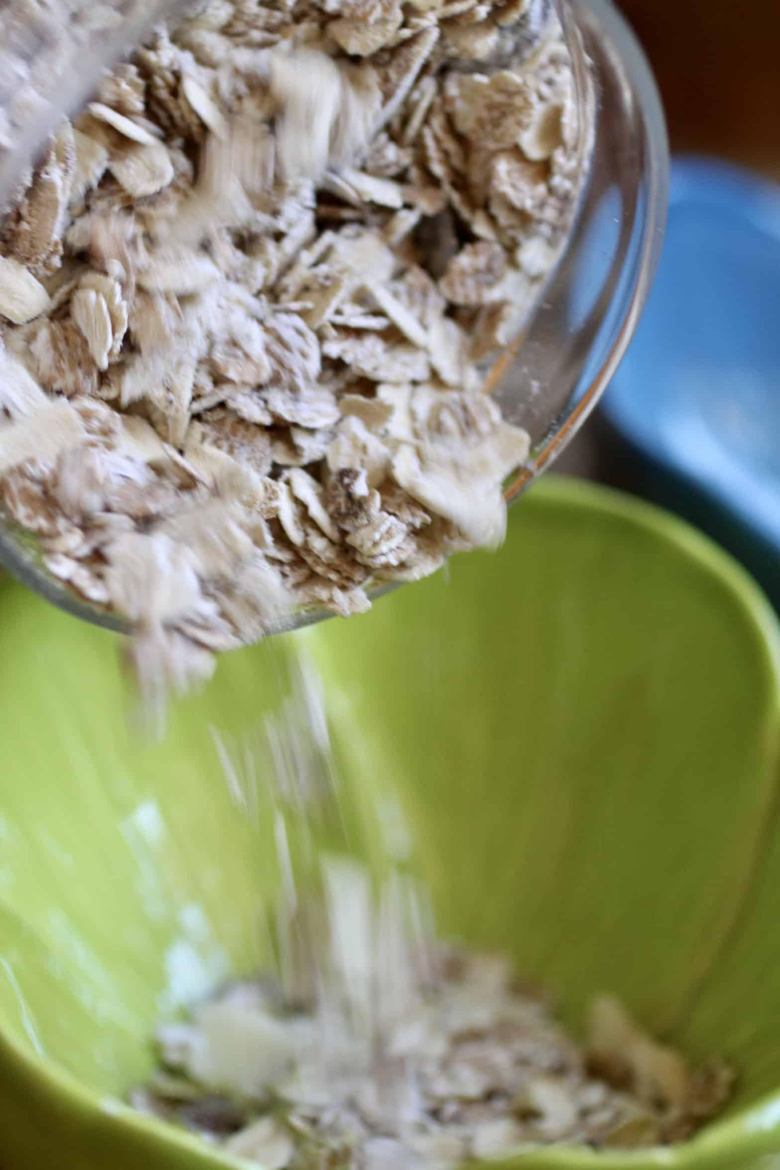 pouring muesli into a bowl