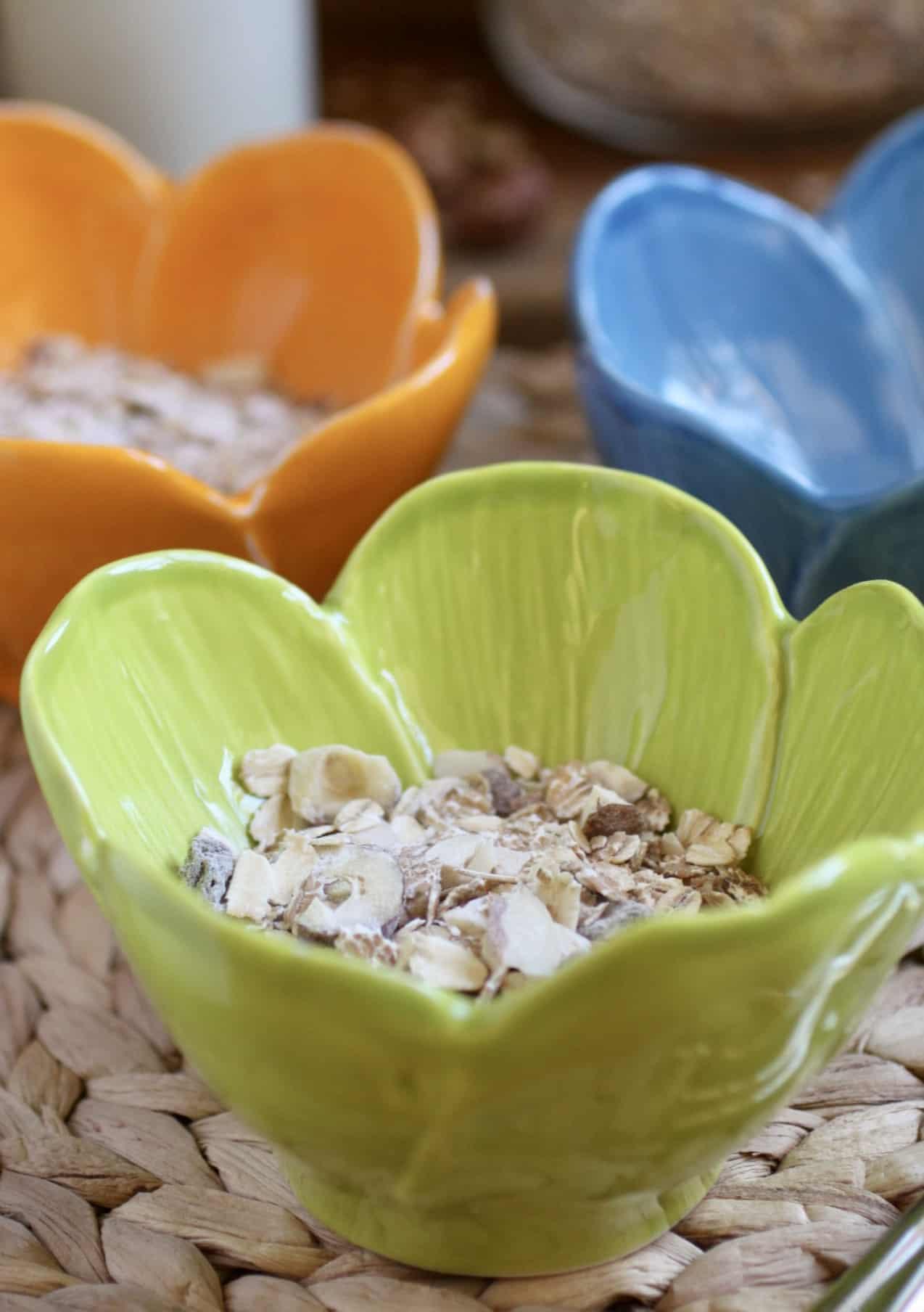 muesli in flower bowls