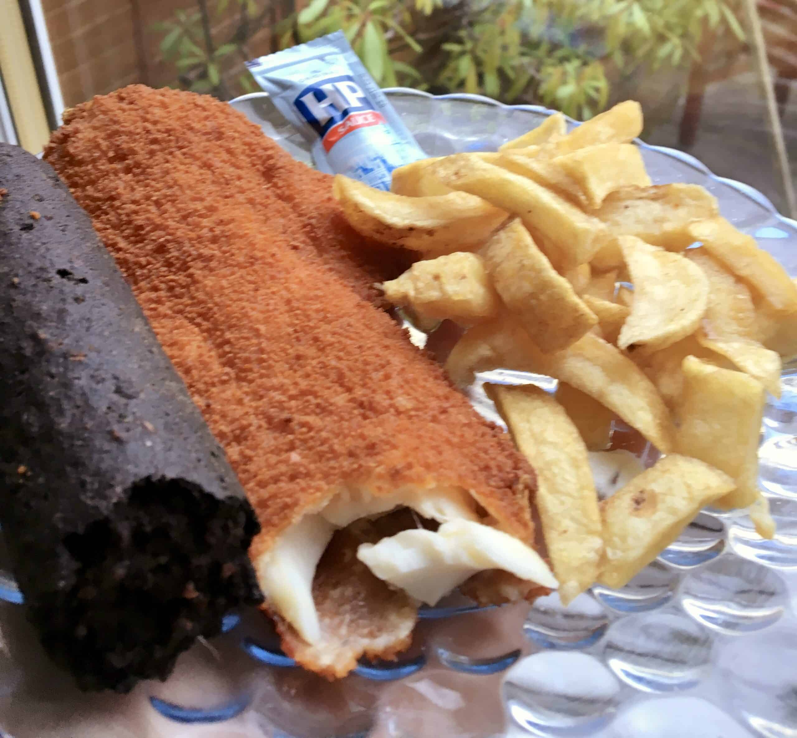 black pudding, fish and chips