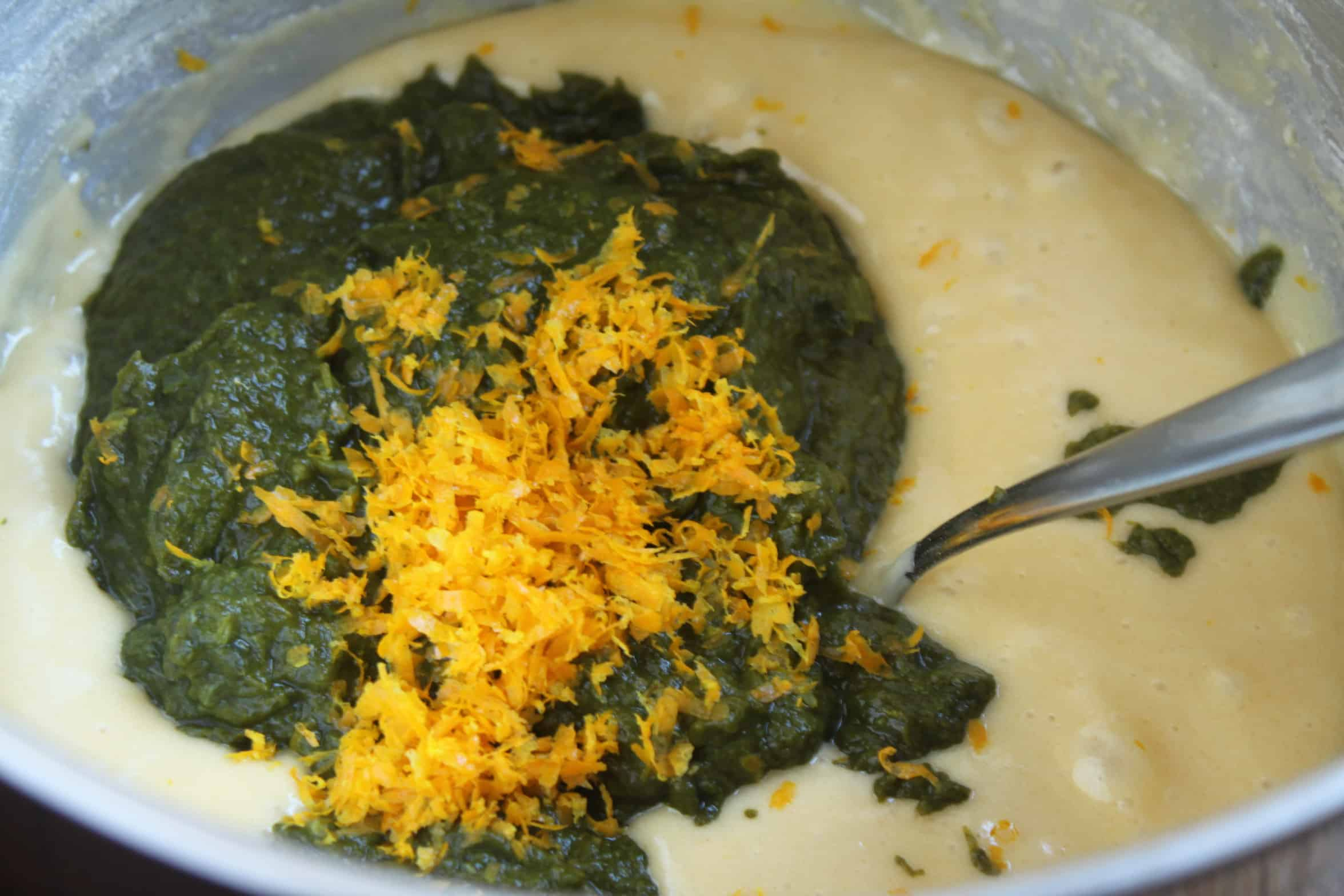 spinach puree and lemon zest added to batter