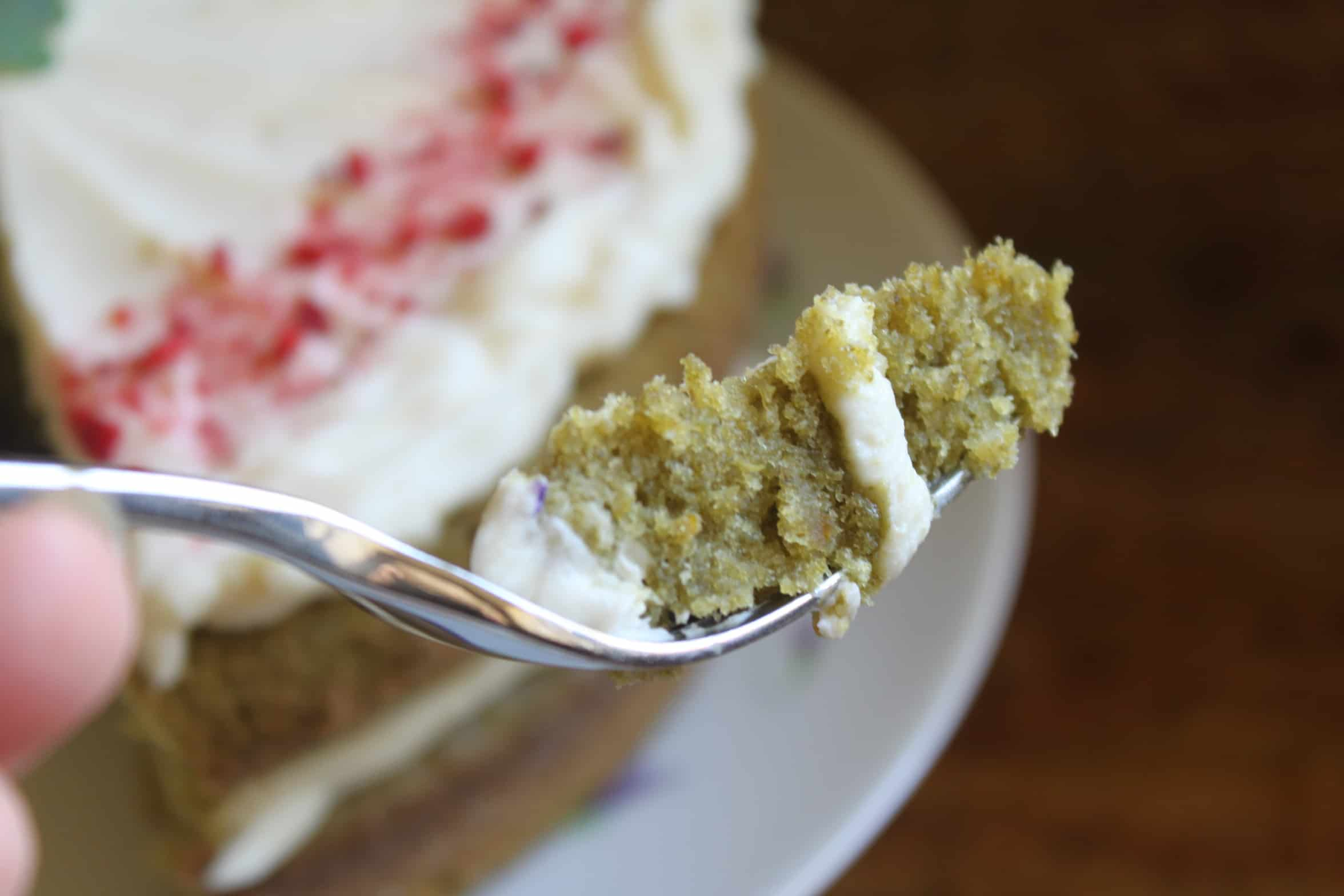piece of green cake on a fork
