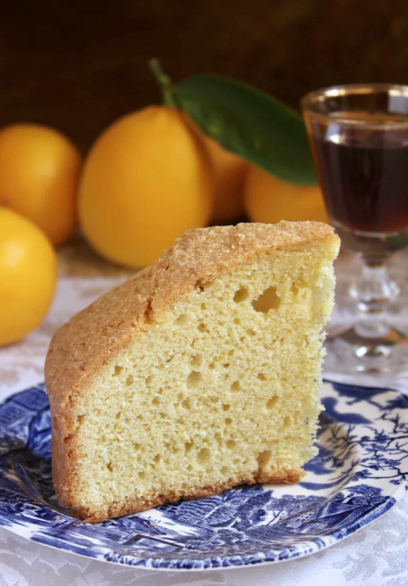 Madeira cake with glass of Madeira wine