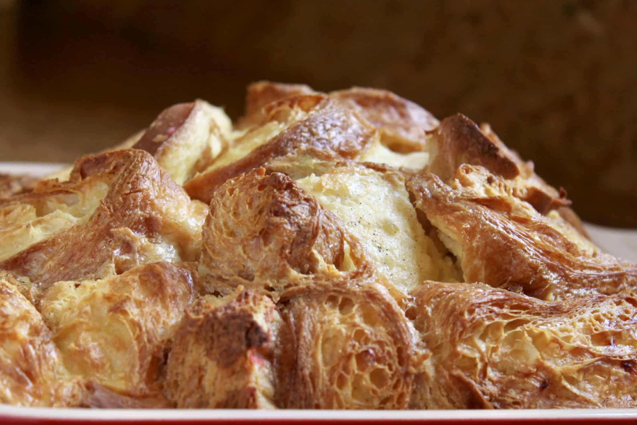 custard bread pudding out of the oven