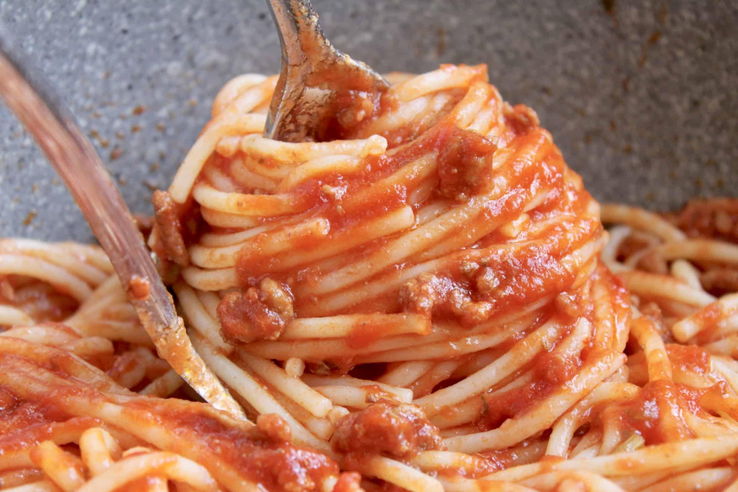 spaghetti twirled to serve
