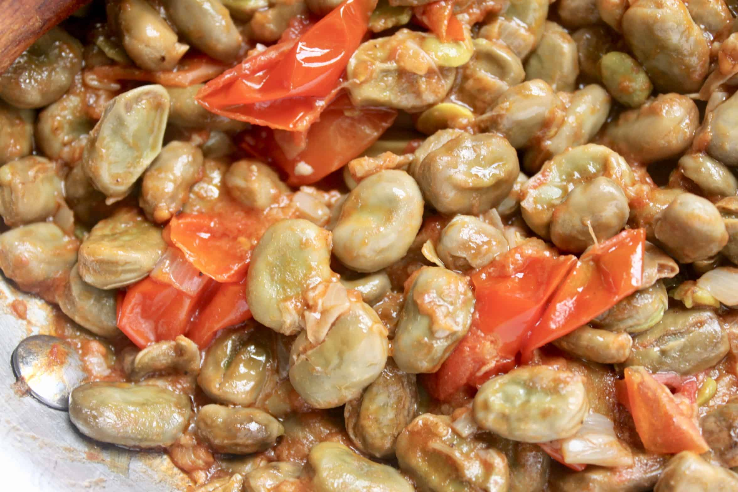 fava beans and tomatoes