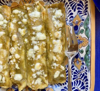Green chicken enchiladas overhead