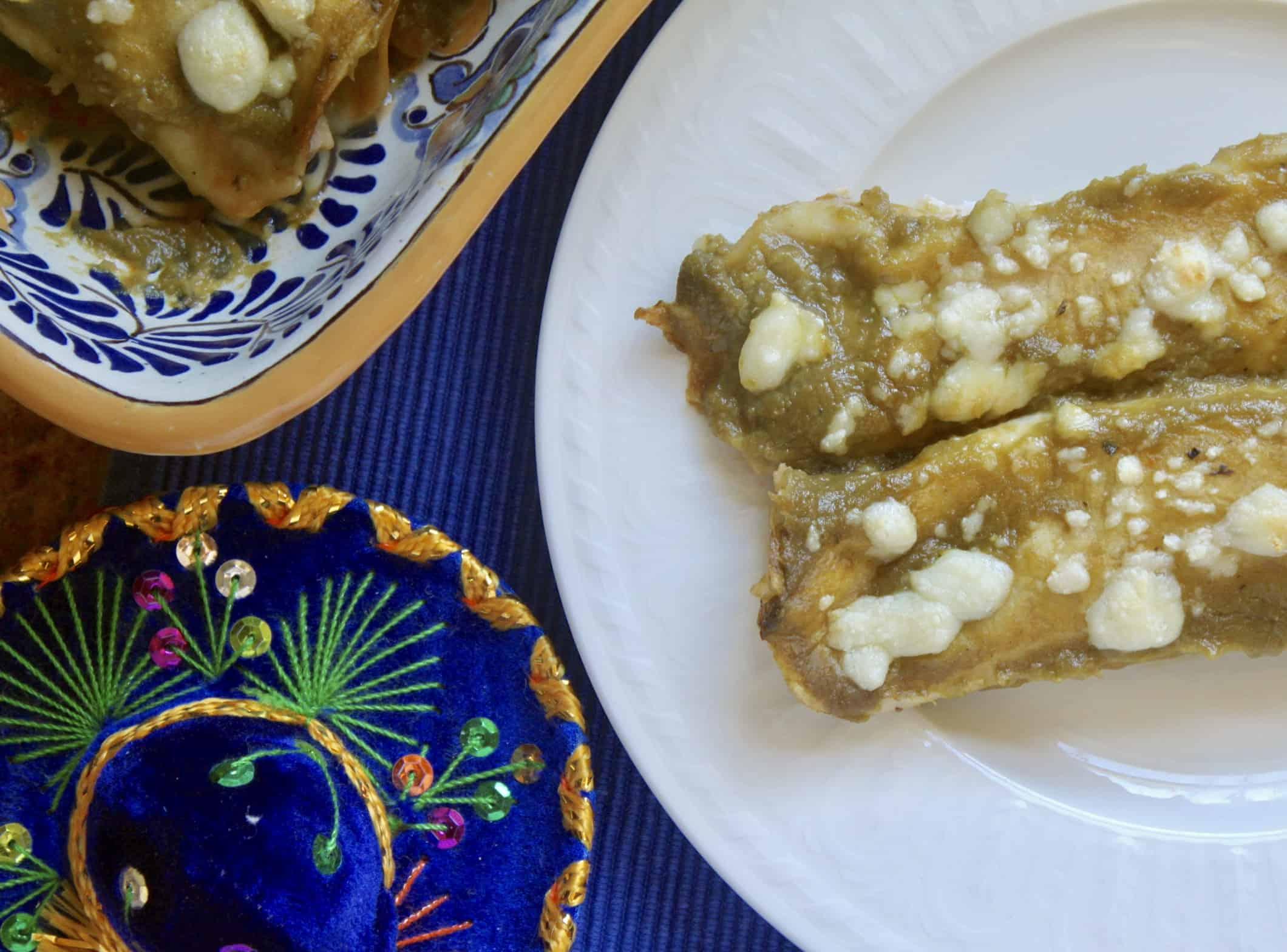 green chicken enchiladas with a Mexican hat