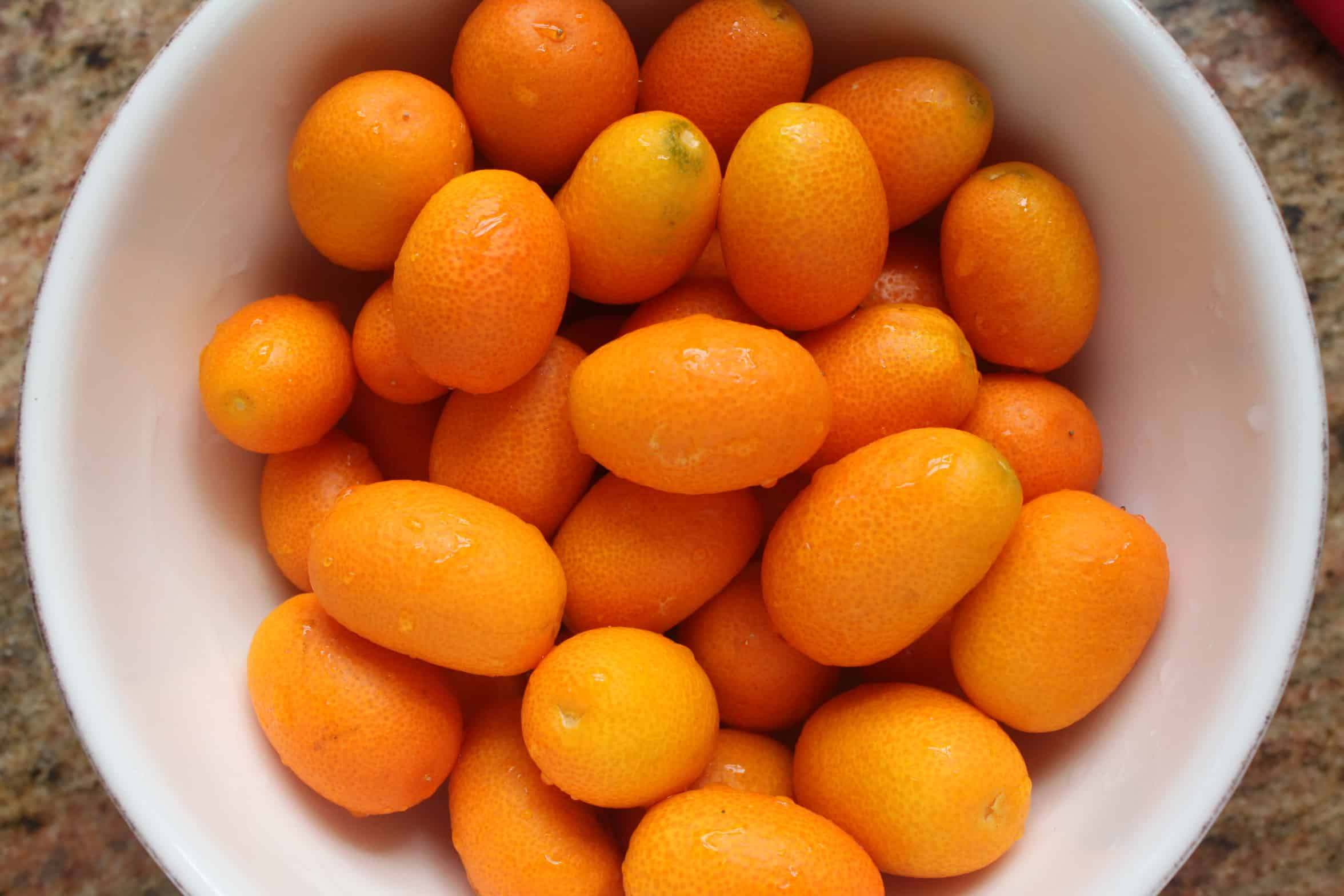 washed kumquats in a bowl
