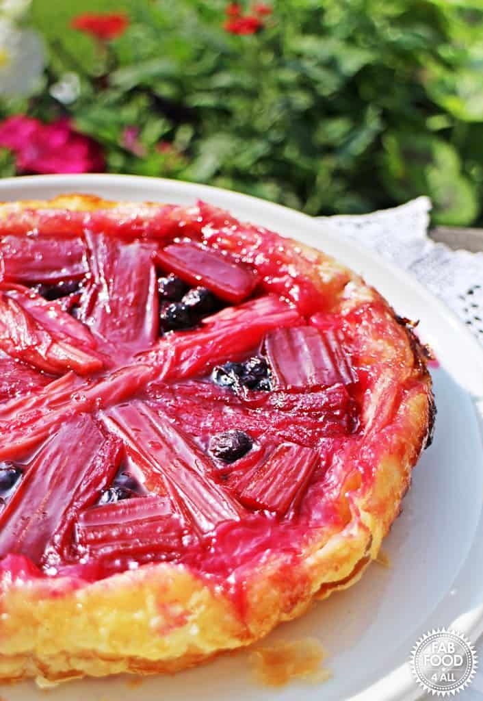 rhubarb and blueberry tarte tatin