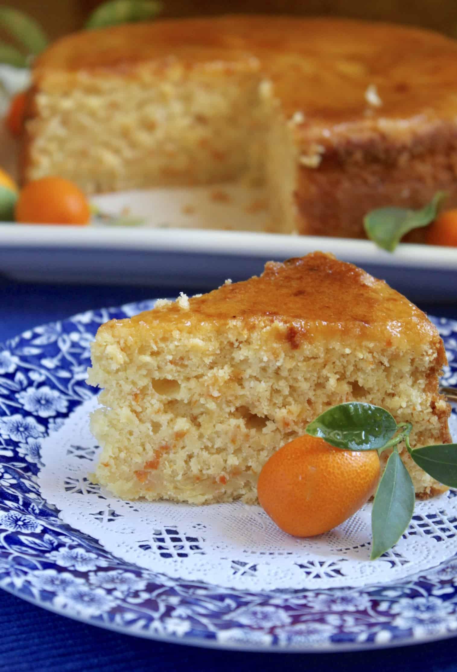 kumquat cake slice on plate