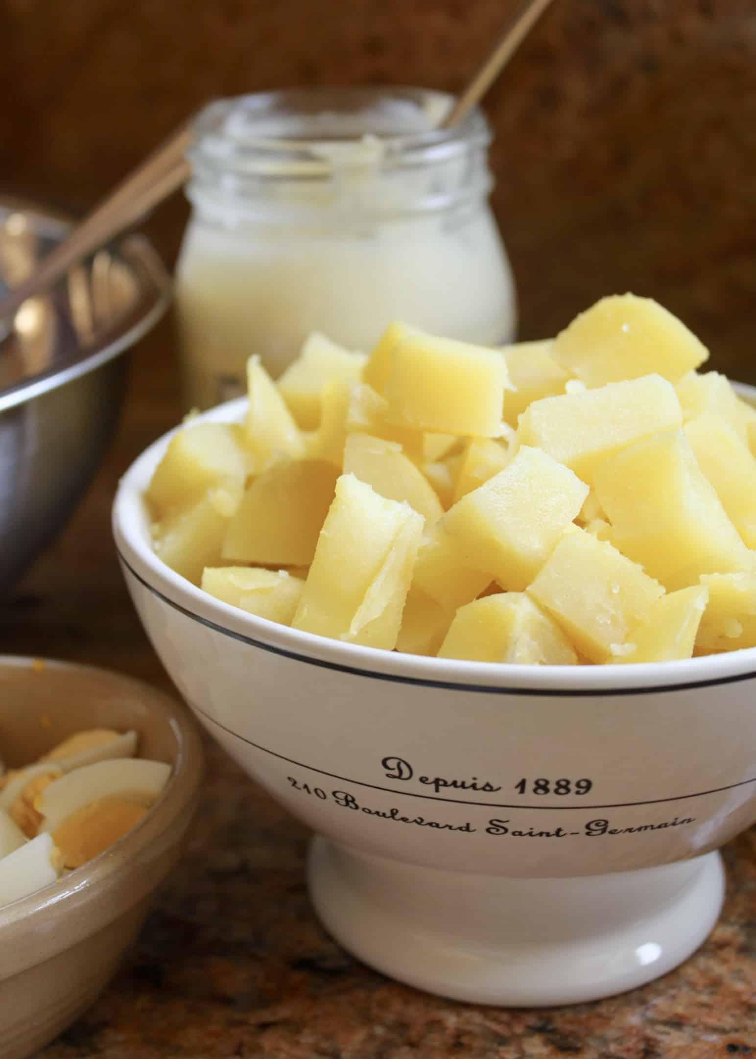 ingredients for Korean potato salad