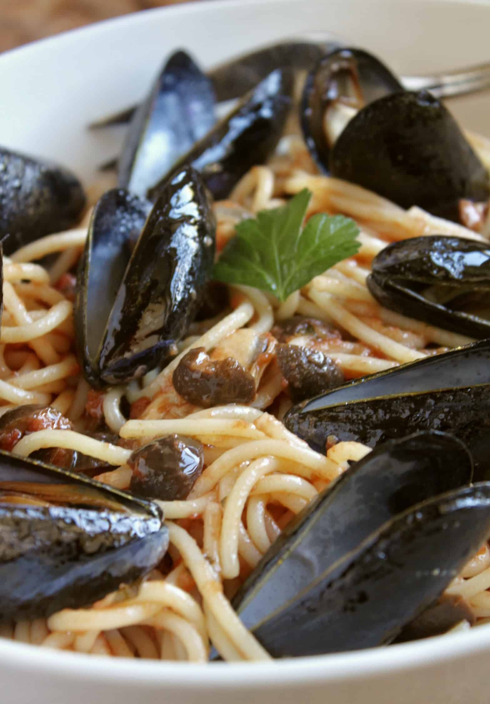 mussel pasta with tomatoes and olives