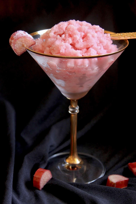 rhubarb granita in a martini glass