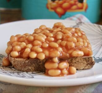 Beans on toast on a plate