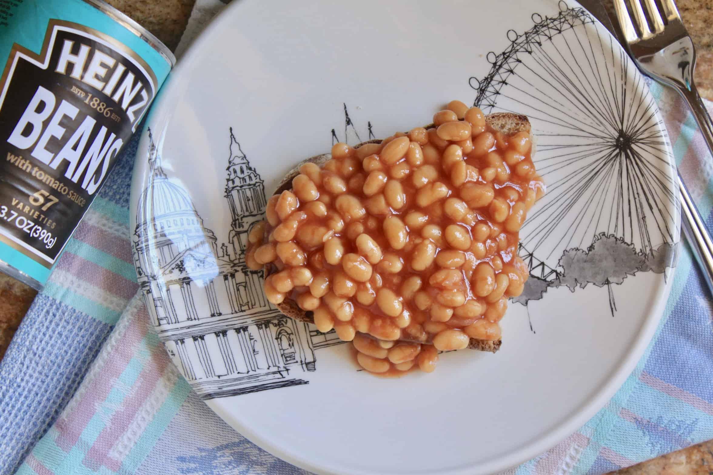 overhead beans on toast on a plate