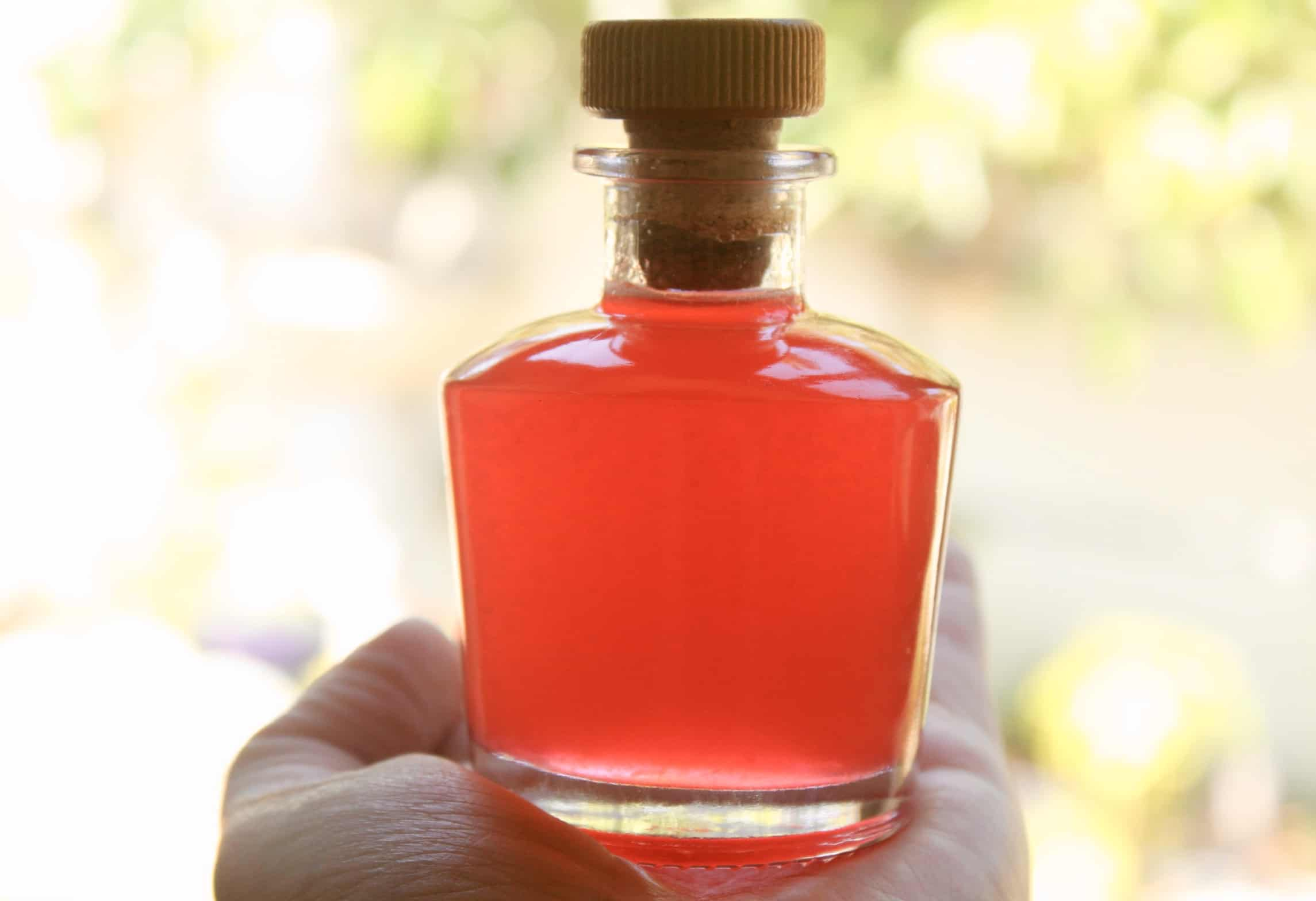 rhubarb syrup in a little bottle