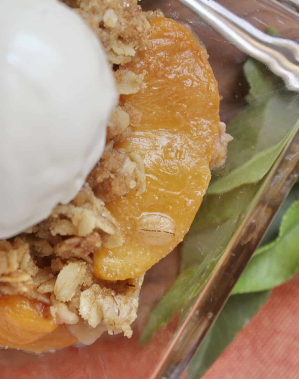 close up of peaches and ice cream