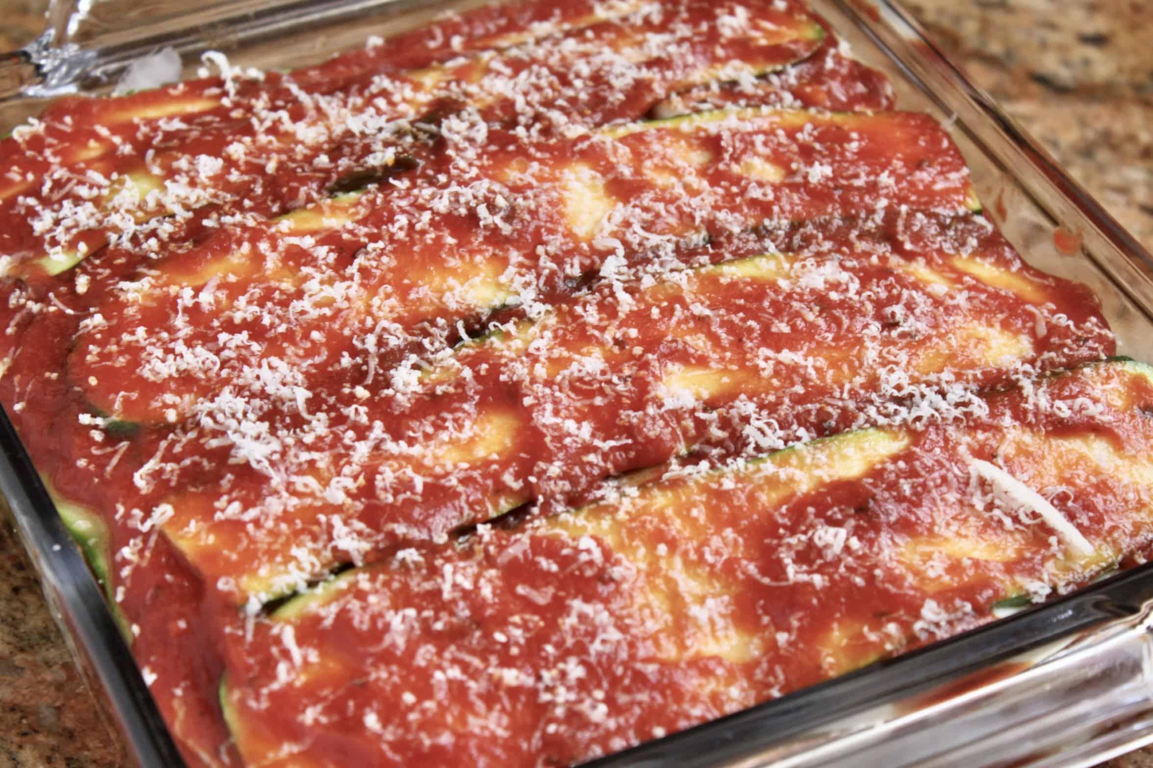 zucchini lasagna ready to bake