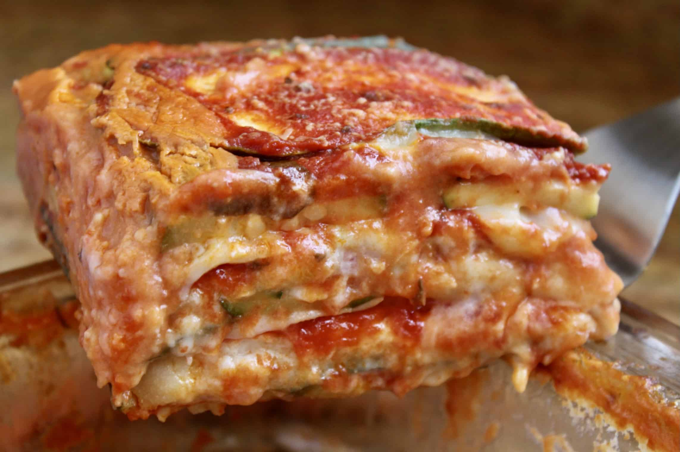 serving the zucchini lasagna