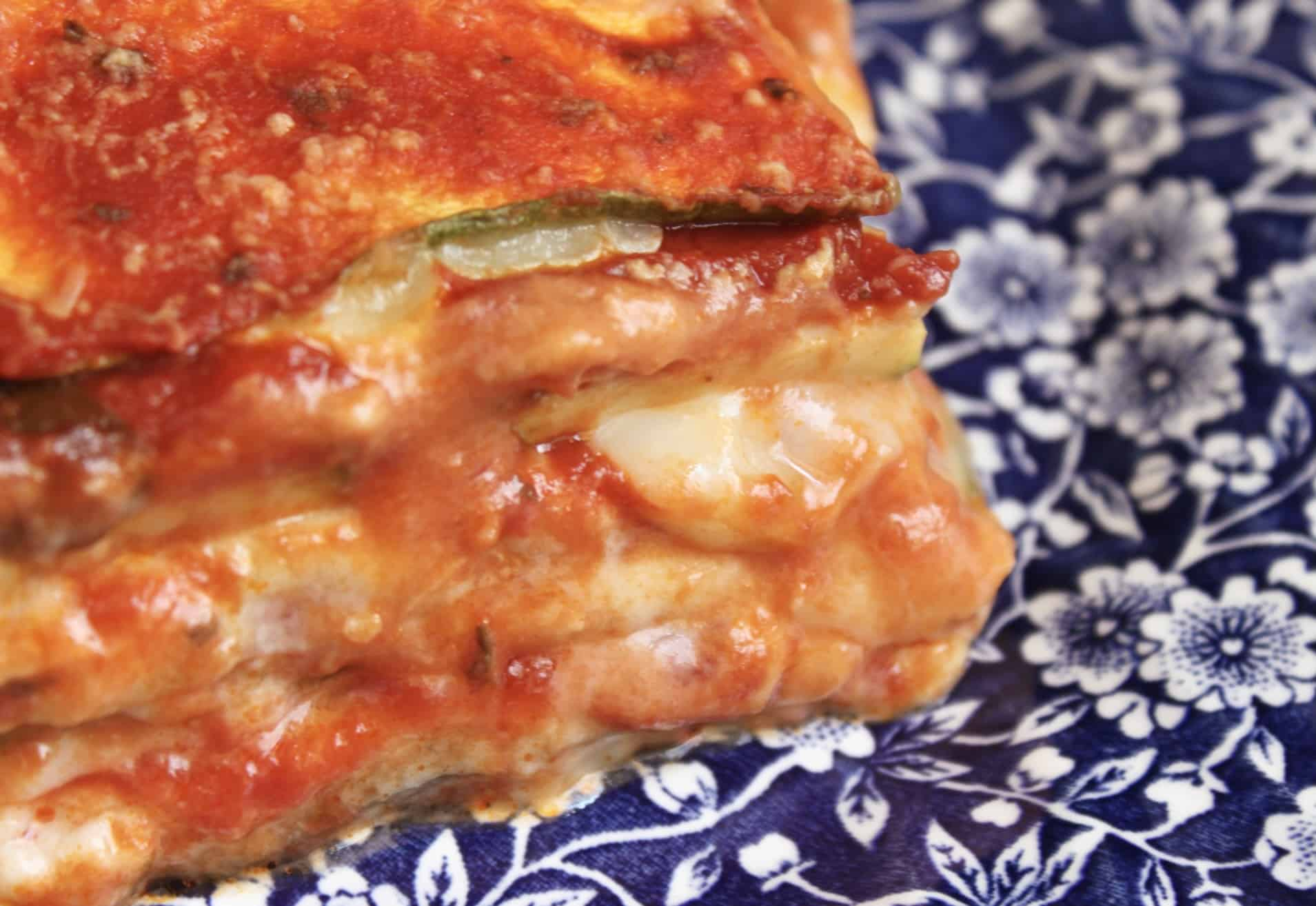 oozy cheese in zucchini lasagna