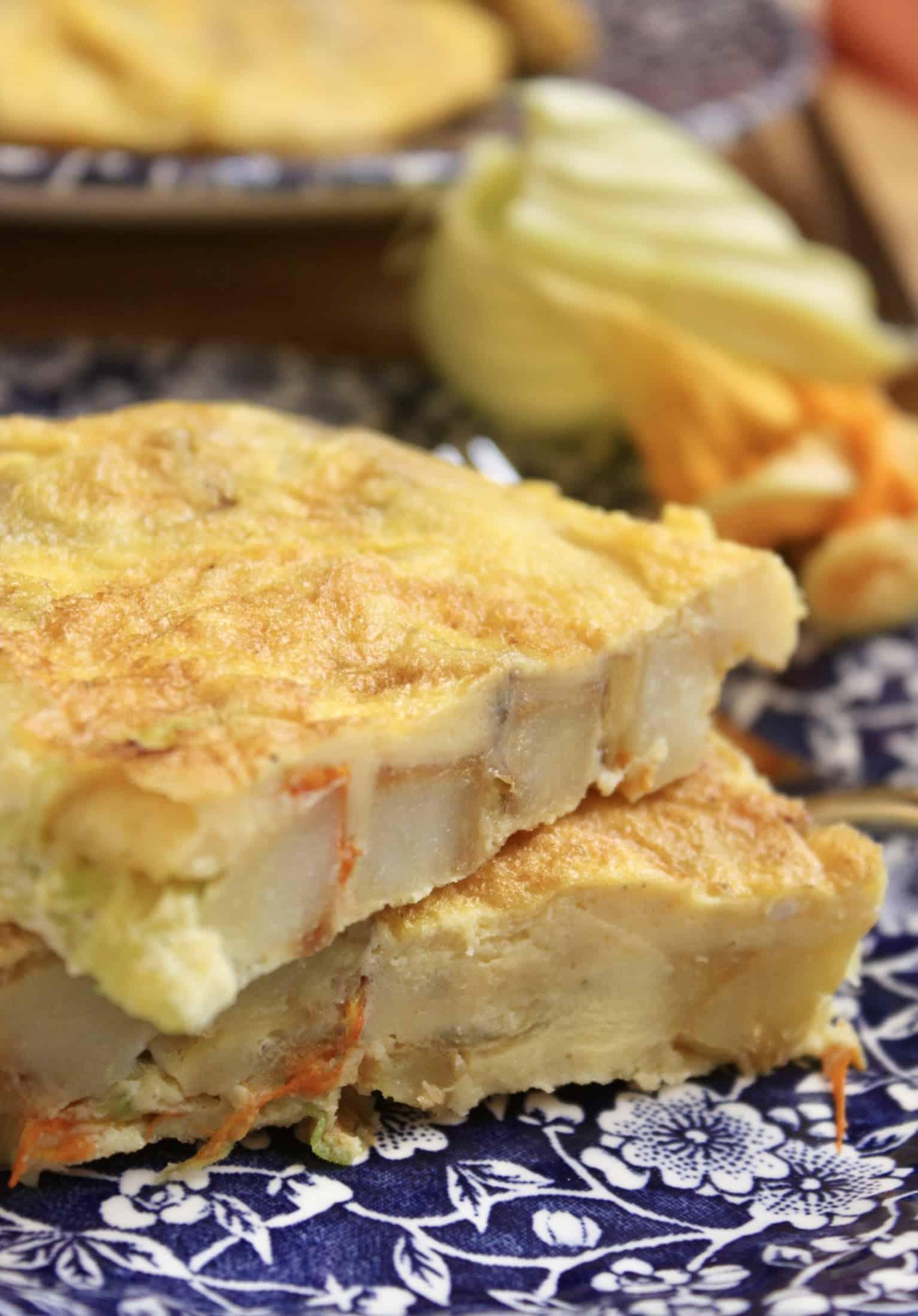 zucchini flower frittata slices