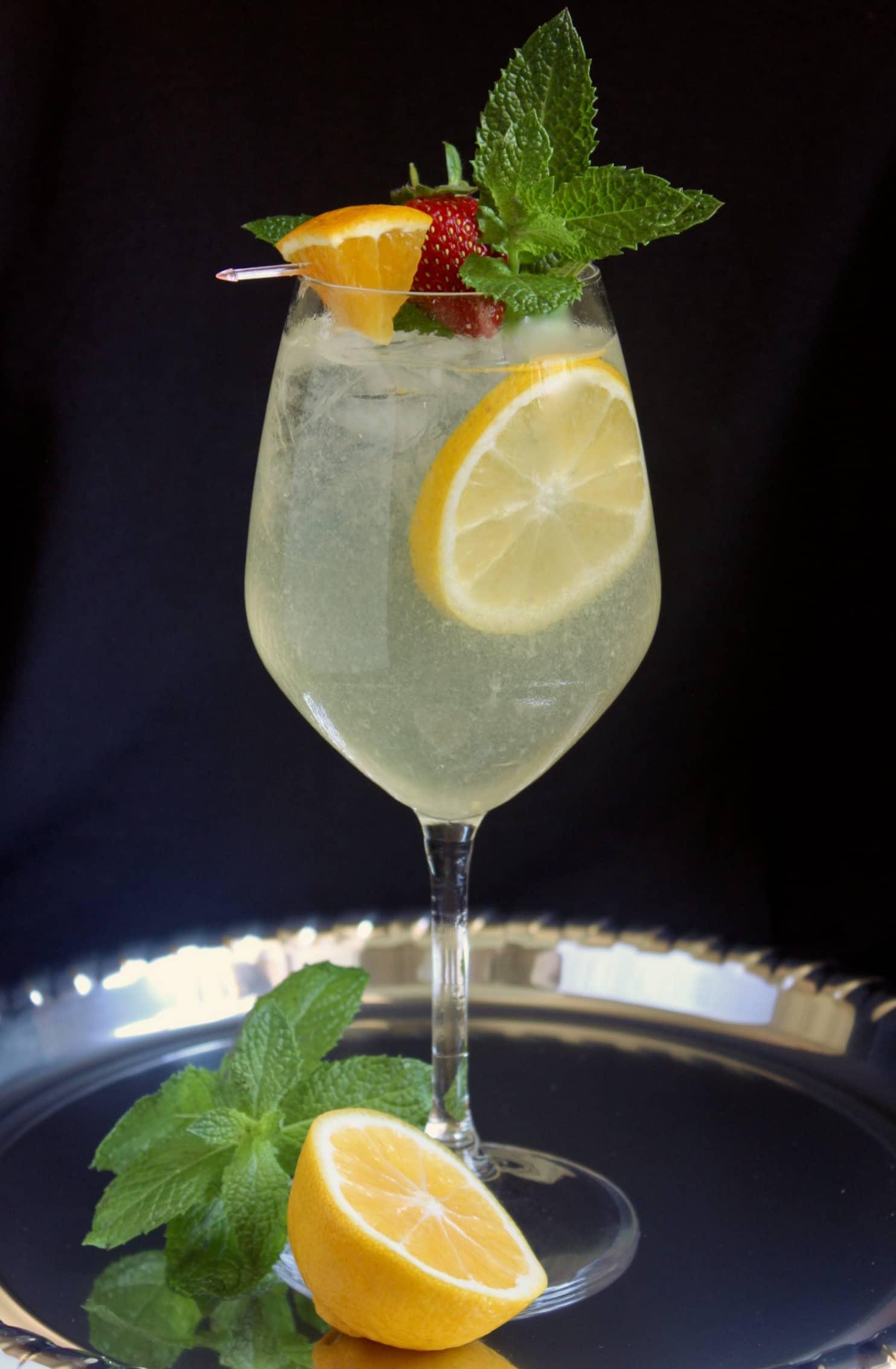 limoncello cocktail on a silver tray