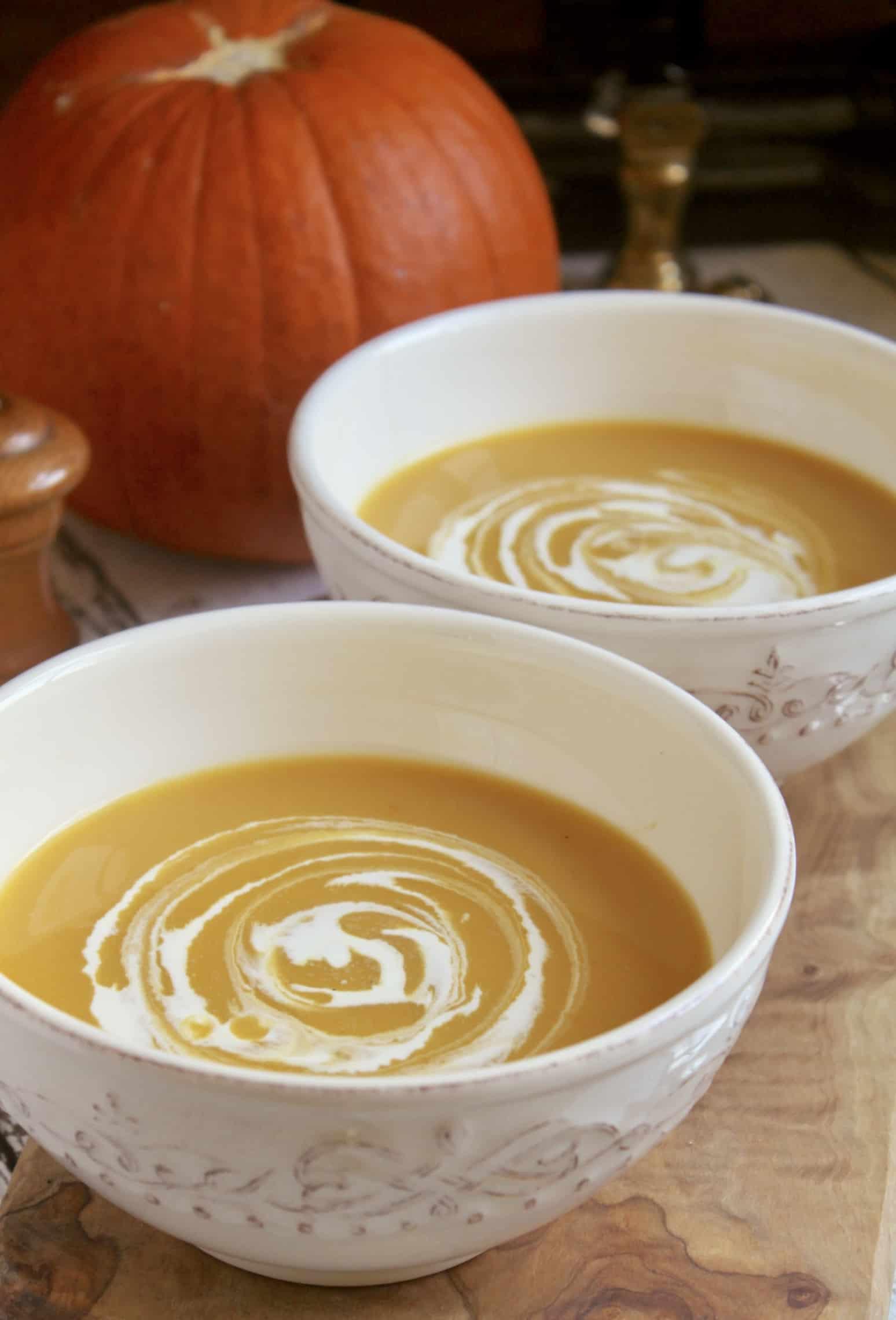 pumpkin soup in bowls