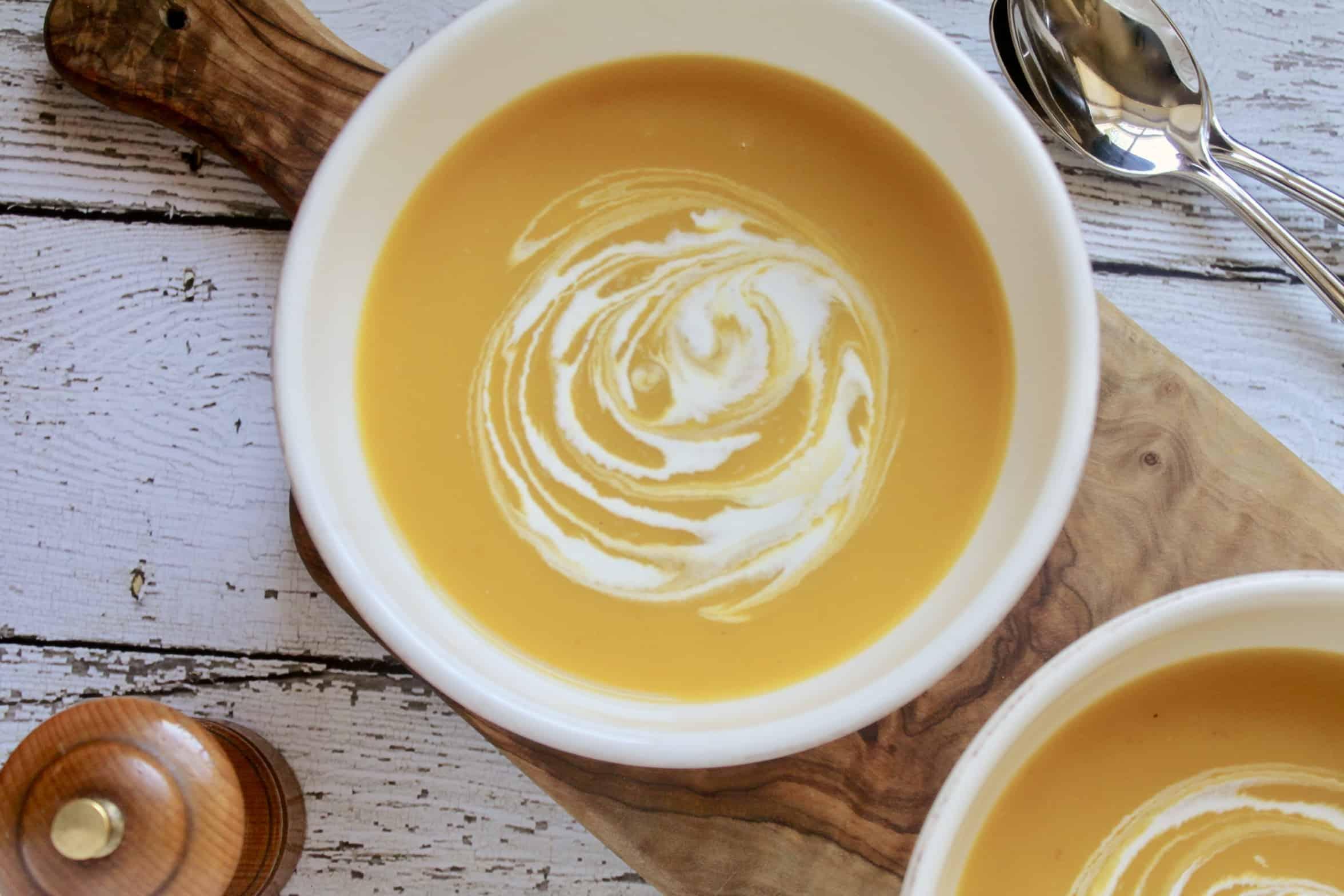 soup with cream swirl