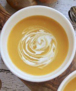 overhead pumpkin soup in a bowl