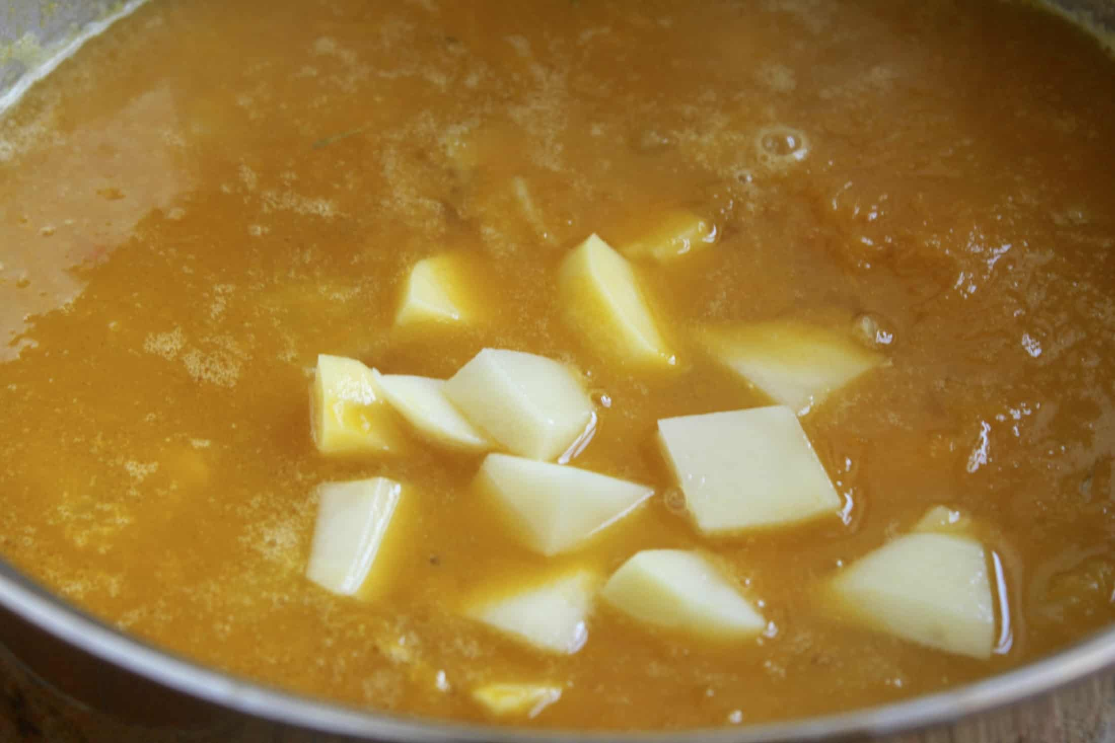 making pumpkin soup