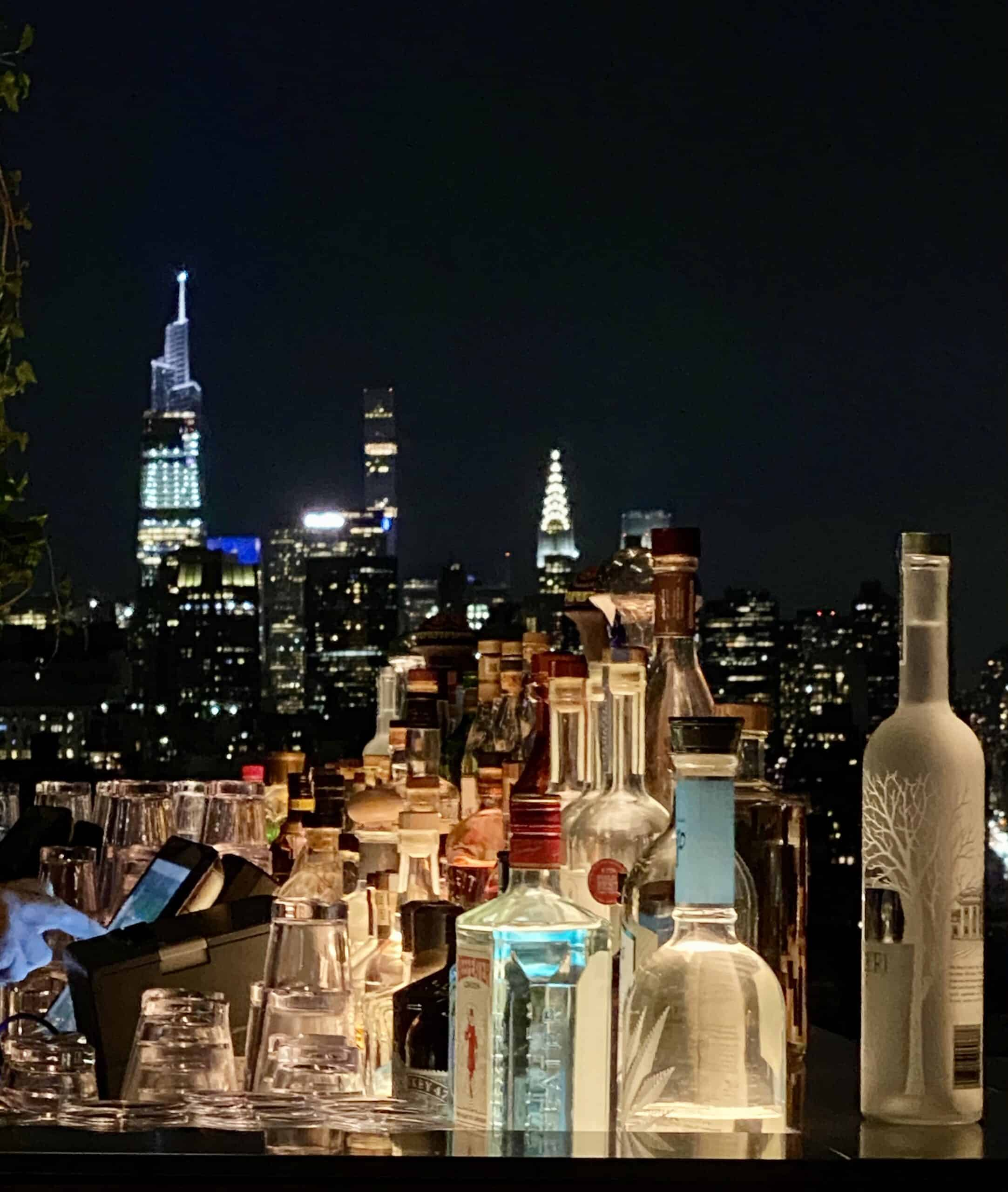 skyline of NYC and bottles