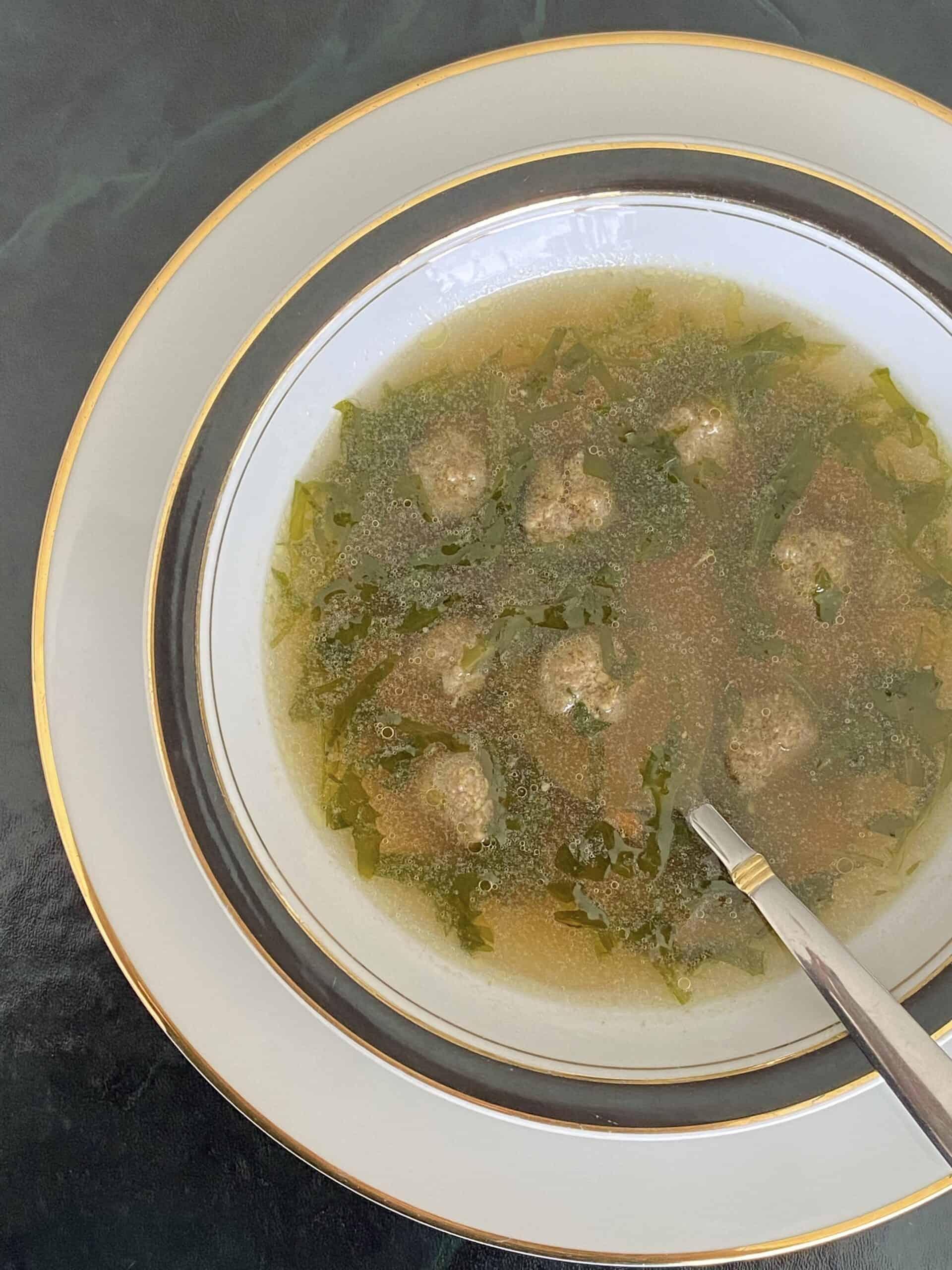 overhead Italian wedding soup