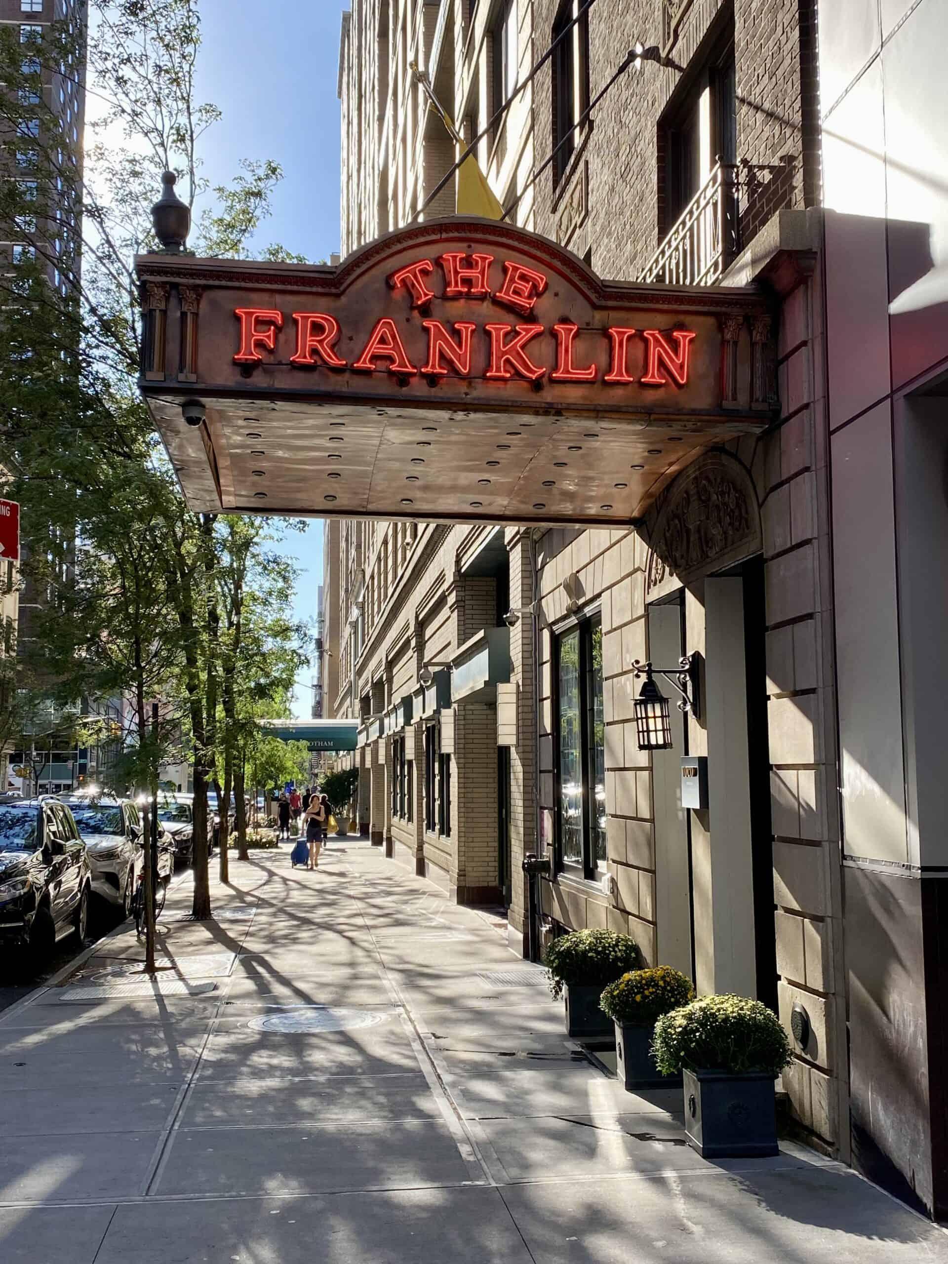 The Franklin entrance in upper east side hotel in Manhattan